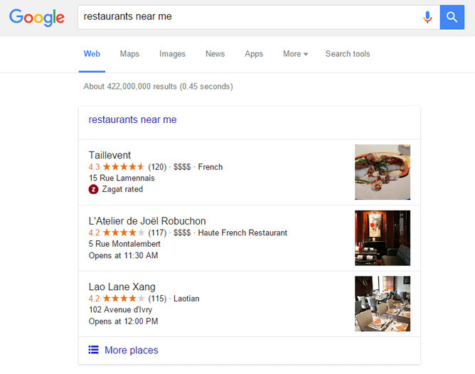 Google 裏技7.restaurants near me で検索