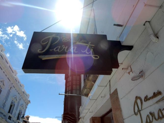 スクレの美味しいチョコレート屋さん「Para ti」の看板