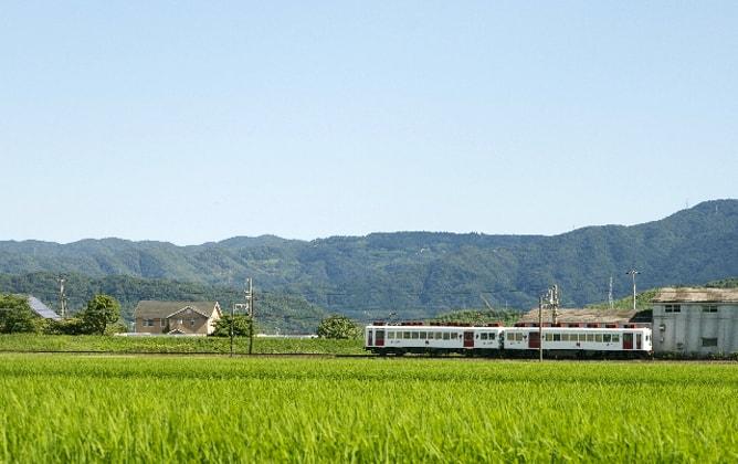 田舎の田園道を走るローカル電車