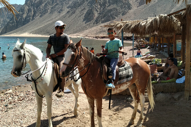 親子で馬に乗るエジプシャン:ダハブ 「Three Pools」 にて