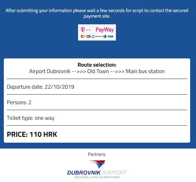 ドブロブニク空港から旧市街へのシャトルバス片道2名料金(2019年10月21日時点)