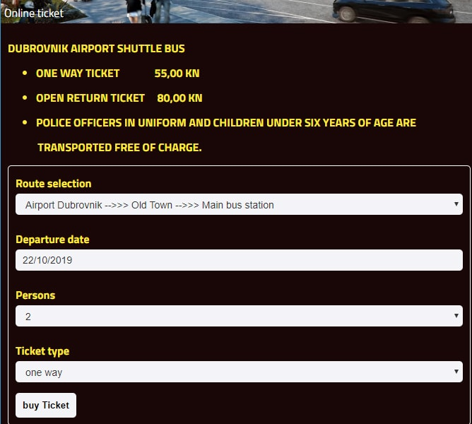 ドブロブニク空港シャトルバスのオンラインチケット選択画面