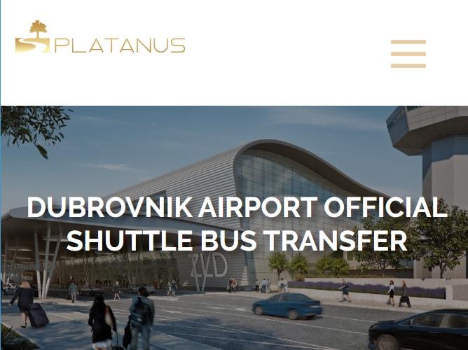 ドブロブニク空港シャトルバス運行会社「PLATANUS」のWEBサイト