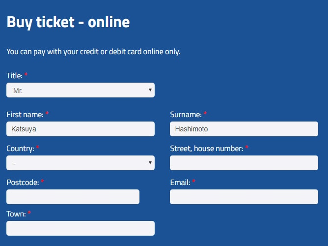 ドブロブニク空港シャトルバスのオンラインチケット購入画面