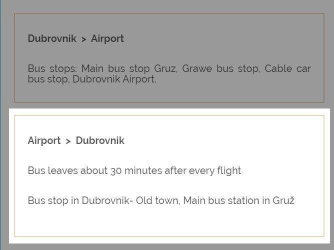 ドゥブロヴニク空港シャトルバスのルート確認