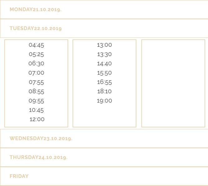 ドブロブニク空港行きシャトルバス時刻表