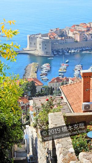 ドゥブロヴニク港を見下ろせる階段の景色