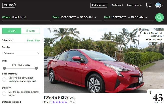 燃費の良い新型トヨタプリウスの赤、ハワイで借りるレンタカーとしては格安!