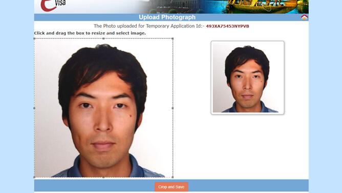 インド e ビザ申請での顔写真サイズの調整
