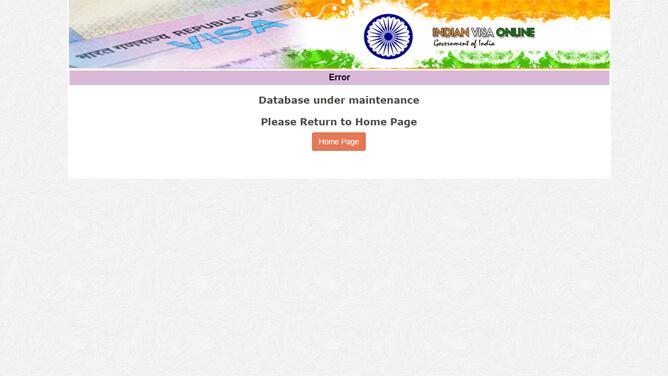 インド e ビザ申請のエラー画面