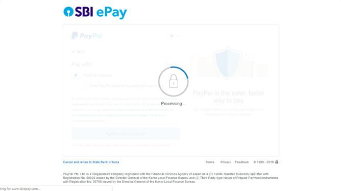 インド e ビザ PayPal 支払い処理中