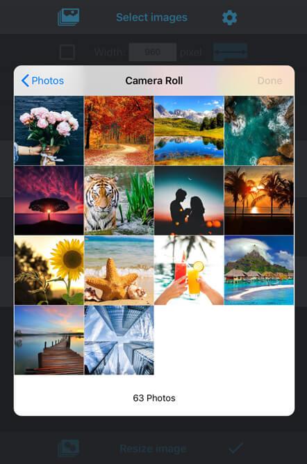 iPhone の標準操作で一括リサイズしたい写真を選択できる