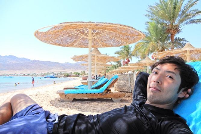 橋本克哉 (本人) ティラナダハブリゾート (Tirana Dahab Resort) にて
