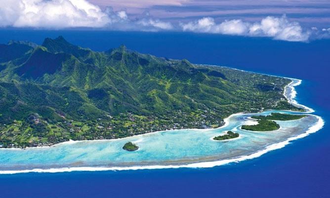 クック諸島・ラロトンガ島「ムリラグーン」の空撮写真