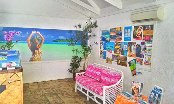 ラロトンガ島の観光客インフォメーション・センター(屋内)