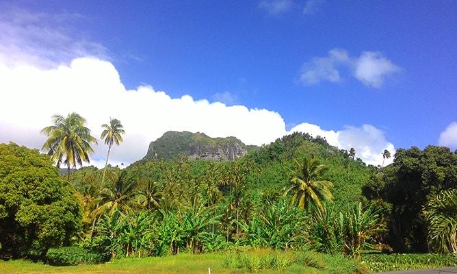 クック諸島ラロトンガ島の山側の景色(テ・マンガ山)