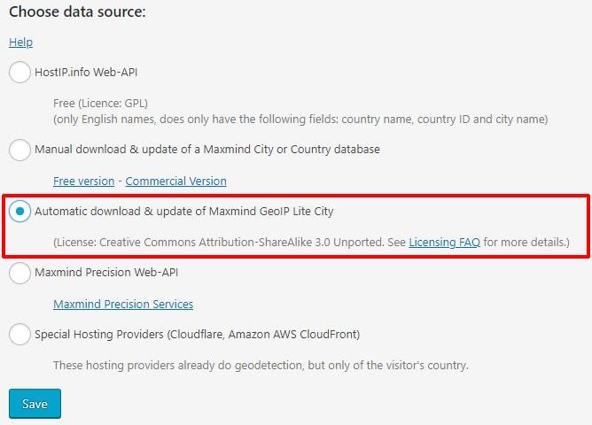 Maxmind GeoIPv2 Lite City のデータベースが選択済みであることを確認