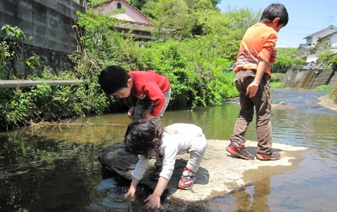 夏休みに小川で遊ぶ子供たちのイメージ