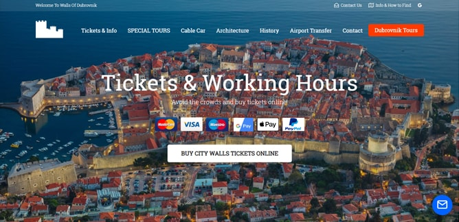 ドゥブロヴニク城壁のチケット料金と営業時間(公式サイト)